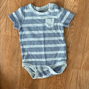 Jumping Beans blue and grey striped onesie